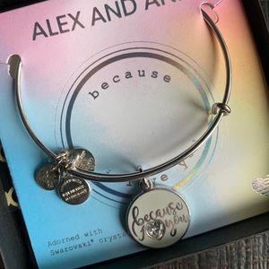 "ALEX & ANI ""Because I Love You"" Silver Bangle"
